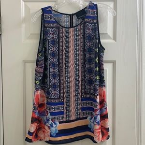 Cynthia Rowley floral and striped pattern top sz M
